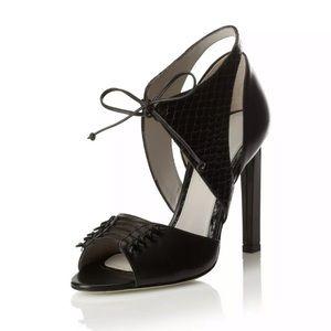 Jason Wu Billie Black Leather Ankle Tie Heels 8.5